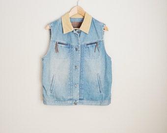 Vintage 90s Ralph Lauren RL67 Denim Jean Vest // womens large