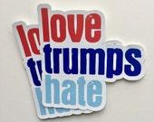 love trumps hate vinyl bumper sticker