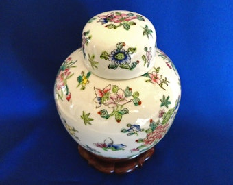 Porceline Ginger Jar with Wooden Stand