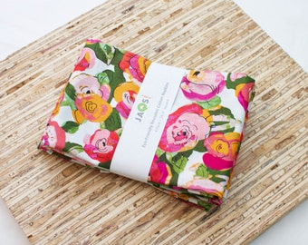 Large Cloth Napkins - Set of 4 - (N4417) - Pink Coral Roses Floral Modern Reusable Fabric Napkins