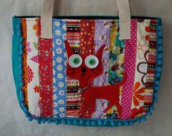 Cat Pom Pom Bag, Fabric Summer Bag, Meow Embroidered patchwork handbags, Cat tote bag, School bag, Bohemian bag, Cat lover gift