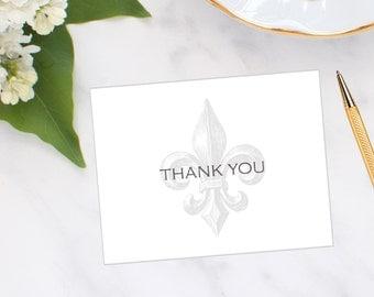 Fleur-de-lis Thank You Note Cards