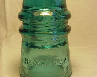 c1890-1920 Hemingray No. 16 Aqua Glass Electric Telegraph Telephone Pole Insulator No. 3