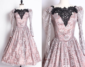 vintage lace dress/ lace overlay/ lace long sleeve dress/ dusty rose dress/ silver grey gray lace