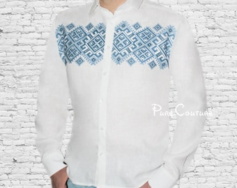 Fashion shirts men Linen shirt Custom tshirt Men designer clothes Long sleeve button down shirt Embroidered shirt Trend clothing Dress shirt