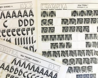 Premier Shaded is a  Vintage Letraset Instant Lettering Rub off Alphabet Sheets