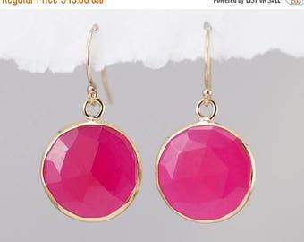40 OFF - Fuchsia Pink Chalcedony Quartz - October Birthstone Jewelry - Round Gemstone Earrings - Gold Earrings - Drop Earrings
