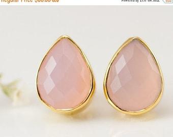 40 OFF - Pink Chalcedony Stud Earrings - October Birthstone Studs - Gemstone Studs - Tear Drop Studs - Gold Stud Earrings - Post Earrings