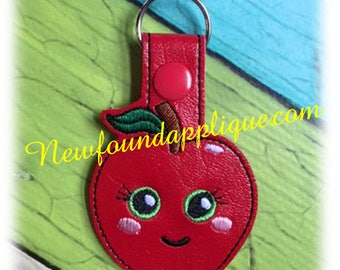 In the hoop Smiling Apple Key Fob Embroidery Machine Design