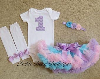 1st Birthday Girl Outfit - Lavender Chevron - Pink Lavender Blue Pastel - Baby Pettiskirt - Flower Headband - Girls First Birthday Outfits