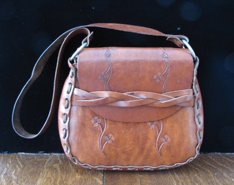 Vintage Hippie Boho Handtooled Leather Purse