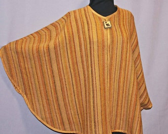 Tan and gold hand woven wool cape, handwoven brown, gold cape, poncho