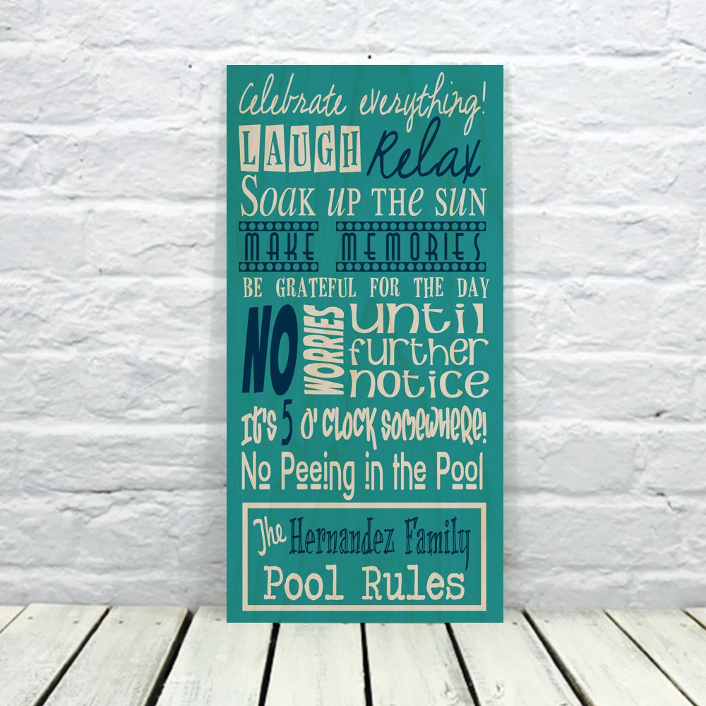 Swimming Pool Plaques Signs Wall Decor: Swimming Pool Sign Pool Decor Pool Sign Personalized Pool