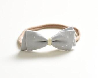 Grey Bow Headband or Hair Clip - Kids Hair Bow