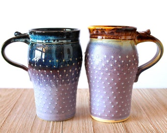 Travel Mug, Handmade Pottery, Ceramic, Stoneware, Wheel-Thrown, Lavender and Mocha