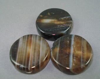 Destash Dark Brown Striped Agate Focal Stones, Three Pieces Round Flat 20MM