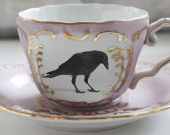 Pink and Gold Raven Teacup and Saucer Set, Bird Teacup, Raven Cup, Crow Teacup, Bird Teacup, Raven China, Crow China, Bird China