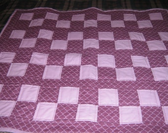 Eggplant and Pink Baby Quilt