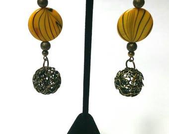 Yellow Earrings - Dangle Earrings - Antiqued Brass Earrings