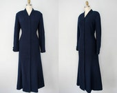vintage wool coat / full length navy blue fitted coat / Gillian / large