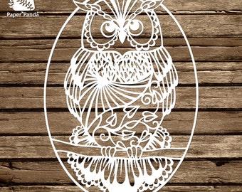 PAPER PANDA Papercut DIY Design Template - 'Owl'
