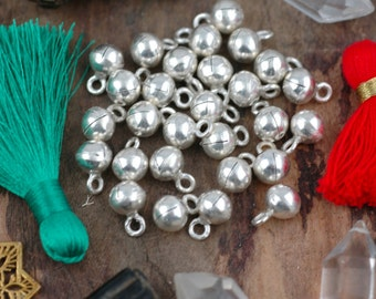 Silver Bells: Small Handmade .925 Sterling Silver Karen Thai Hill Tribe, 8mm, Holiday Christmas Decor, Jewelry Making Supply, 1 pc.