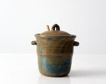 SALE vintage studio pottery honey pot, ceramic kitchen jar