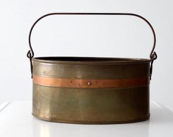 vintage brass & copper bucket, mixed metal basin