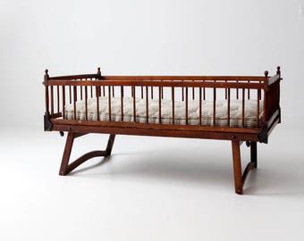 Victorian children's bed, antique folding crib