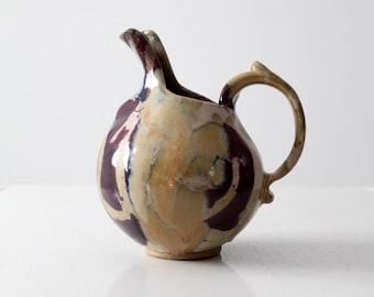 studio pottery pitcher, mid-century glazed ceramic pitcher