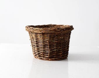 vintage planter basket, small woven basket bowl