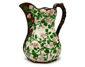 Vintage Ceramic Pitcher with Pink Roses - 64 ounces - Hand Painted Decorative Vase - Raised Design of Flowers & Leaves