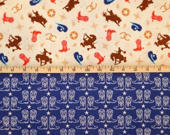 Riley Blake. Cowboy. Toss Multi with Boots Blue - BTY Cotton Fabric - Choose your cut and fabric