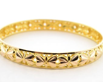 Solid 22K Yellow Gold 8mm Wide Bangle Bracelet