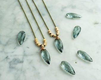 Quartz Pendant Necklace, Layering Necklace, Moss Aquamarine, Drop Necklace, Boho Necklace, Antique Bronze Ball Chain, Rose Gold Plated,