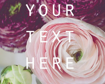 """Social Media Photo, Styled Stock Photo, Instagram, Instant Download Photo, Printable Photo, Ranunculus Photo, 8.5"""" x 11"""", Pastel Colors"""
