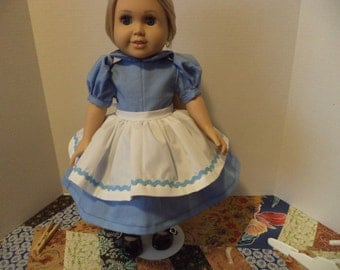 Blue Dress & Apron, 18 Inch Doll, Ready to Ship