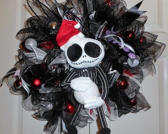 Jack Skellington wreath, Jack Skellington Nightmare Before Christmas, front door wreath, deco mesh wreath, wreath