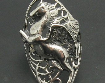 Sterling silver ring solid 925 horse pegasus pendant
