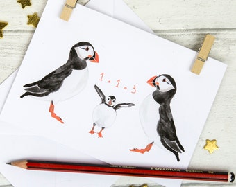 New Baby Card, Puffin Family Greeting Card, Welcome Baby, 1+1=3