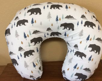 Bear boppy cover, ready to ship, boppy pillow cover, gray, brown, teal and gold, woodland