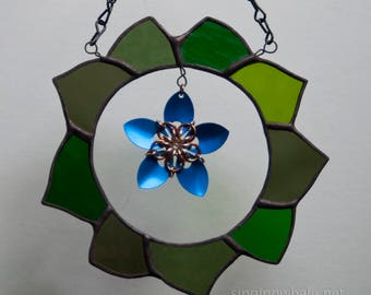 Stained Glass Green Wreath with Scale Maille Blue Flower - mixed media