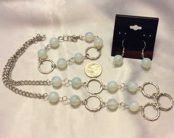 Opalite Quartz Matching Necklace, Bracelet, and Earrings