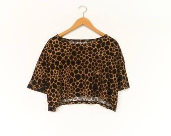 Vintage Crop Top Blouse / Animal Print / Brown Yellow / Loose Slouchy / Short Sleeve / Summer / medium