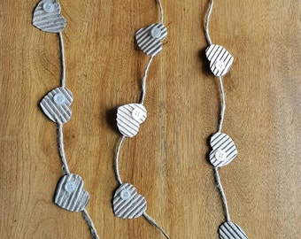 Mini Heart Garland with Corrugated Paper with Jute accented with vintage pearl shirt button - home decor - shabby chic - cottage chic - love