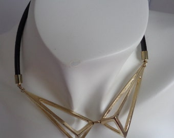Geometric Necklace, Prism Necklace, Gold Choker Minimalist Necklace, Collar  Necklace, Statement Necklace, Bold Necklace, Metallic Necklace