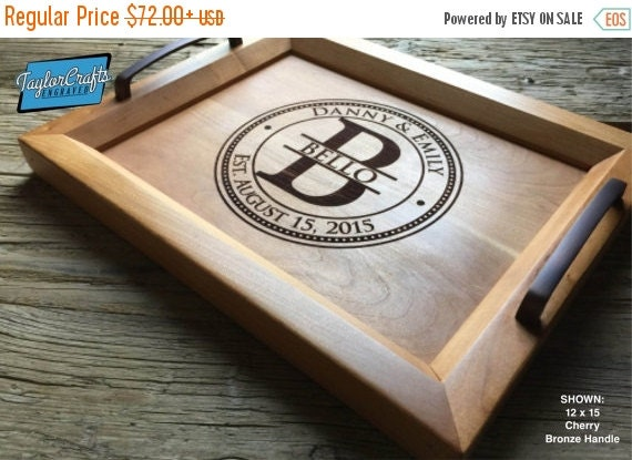 Personal New Year Sale - Personalized Wood Tray, Engraved Serving Tray - Wedding Gift, Housewarming Gift, Anniversary Gift