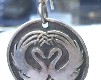 Vintage Sterling Silver Hook Earrings : Birds of Paradise Dance Drop 88.465.EE