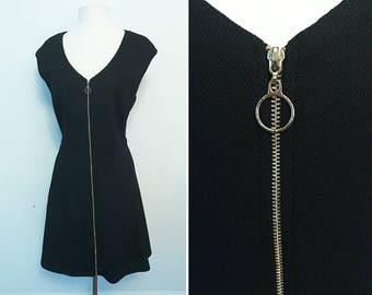 90s Round Zipper Little Black Dress / Vintage / Size XL