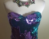 Beautiful Mermaid Two Toned Sequins Cropped Corset Top 36C Moving Sale